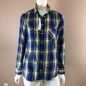 Uniqlo Flannel button-down Shirt blue plaid NWT